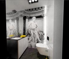 APARTAMENT 100 M/KW. W PODWARSZAWSKIM Józefosławiu. Zaprojektowany został w prostym, minimalistycznym stylu. Bazę większości pomieszczeń stanowi biel ścian i mebli,bielona podłoga ,skontrastowane z czernią i szarościami.Mała łazienka - toaleta dla gości;posiada ukrytą zabudowę z MDF-u lakierowanego,która pełni funkcję schowka. Pod blatem ukryta jest szafka podumywalkowa oraz pralka. Elementem tworzącym klimat jest tu ciekawe światło jak i wielkoformatowa fototapeta w formie czarno-białego zdjęcia,zaproponowanego przez projektantkę.
