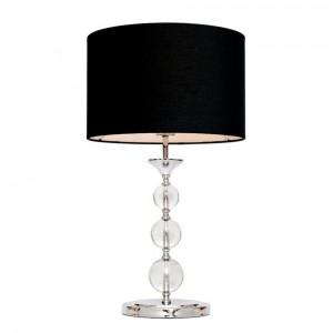 Lampa Rea II z podstawą wykonaną z chromowanego metalu, klosz materiałowy.Na korpusie znajdują się szklane kule. Cena 249 zł. Fot.Agata Home.