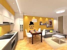 Żółto - szary salon.