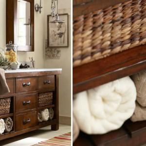 Stylowa komoda z miejscem na przechowywanie ręczników. Fot. Uptowngirl Fashion Magazine.