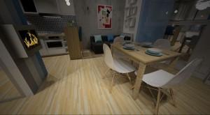 BLUE – to kawalerka, dla której inspiracją były wnętrza skandynawskie. Dobór barw: szary i niebieski dobrze pasuje do męskiego wnętrza. W tym małym mieszkaniu dodatkowo otwarto przestrzeń łącząc kuchnię z salonem i korytarzem, a przesunięcie ściany w korytarzu w stronę kuchni sprawiło, że znalazło się tam miejsce dla szafy. Za dwustronnym regałem znajduje się podest z dodatkowym miejscem na przechowywaniem, na którym zaplanowano aneks sypialniany. Salon z aneksem kuchennym w stylistyce skandynawskiej, z małym barkiem i rozkładanym stołem na co dzień pełniącym rolę stolika do pracy, kolorystyka biała, szara, niebieska z wyraźnym akcentem drewna.