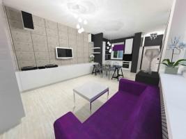GLAM-LOFT – małe mieszkanie w starej kamienicy zaprojektowane zostało w mieszanym stylu glamour i industrialnym, który nazwałyśmy glam-loft. Kolory biel, szarość, czerń i ecru są tłem dla głębokiego odcienia koloru fioletowego. W mieszkaniu otwarto przestrzeń i połączono kuchnię z salonem i częścią korytarza. Łazienka w stylu glamour, w kolorystyce lila.