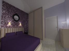 GLAM-LOFT – małe mieszkanie w starej kamienicy zaprojektowane zostało w mieszanym stylu glamour i industrialnym, który nazwałyśmy glam-loft. Kolory biel, szarość, czerń i ecru są tłem dla głębokiego odcienia koloru fioletowego. W mieszkaniu otwarto przestrzeń i połączono kuchnię z salonem i częścią korytarza. Sypialnia w stylistyce glamour, w kolorystyce ecru i fioletowej.