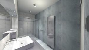 WALLANDER – projekt mieszkania 80 m² powstał po starannym poznaniu upodobań naszych klientów. Bazą do powstania tego projektu były sympatia inwestorów do wnętrz skandynawskich, który ociepliłyśmy i ożywiłyśmy akcentami kolorystycznymi.Łazienka w stylu nowoczesnym z elementami industrialnymi, kolorystyka biała i szara, z płytkami imitującymi beton i przypominającymi origami.