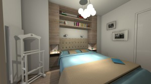 WALLANDER – projekt mieszkania 80 m² powstał po starannym poznaniu upodobań naszych klientów. Bazą do powstania tego projektu były sympatia inwestorów do wnętrz skandynawskich, który ociepliłyśmy i ożywiłyśmy akcentami kolorystycznymi.Sypialnia w stylu nowoczesnym, o kolorystyce beżowo-niebiesko-białej, z dominacją drewna.