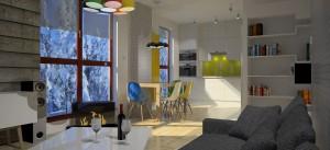 WALLANDER – projekt mieszkania 80 m² powstał po starannym poznaniu upodobań naszych klientów. Bazą do powstania tego projektu były sympatia inwestorów do wnętrz skandynawskich, który ociepliłyśmy i ożywiłyśmy akcentami kolorystycznymi.Salon z aneksem kuchennym nawiązuje do stylistyki skandynawskiej i stylu nowoczesnego, z wyrazistymi okładzinami ściennymi w postaci drewna i cegieł, kolorystyka: biel, drewno i żywe akcenty kolorystyczne: żółty, pomarańczowy, zielony i niebieski