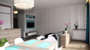 Apartament o pow. 80 m2 w nowoczesnym apartamentowcu w centrum Łodzi. Mieszkanie zostało urządzone zgodnie z aktualnymi trendami. Baza to delikatne szarości oraz biele, dodatki to morskie elementy i kryształki.
