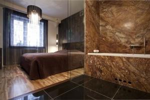 Sypialnia z łazienka - mieszkanie na Bemowie.