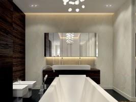 Biało - brązowa łazienka - apartament w Wilanowie.