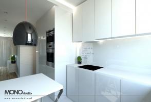 Nowoczesna minimalistyczna kuchnia w jasnej tonacji.