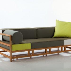 Sofa Easy Pieces - inspirujące połączenie drewna i nowoczesnych kształtów. Fot. Brühl.