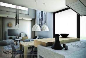 Drewno, beton, proste formy i nietypowe faktury w nowoczesnym domu pod Warszawą.