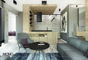 Modernistyczny aneks kuchenny jako drewniany akcent w betonowej formie.