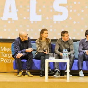 Panel dyskusyjny: Paweł Grobelny, Maria  Jeglińska, Brodie Neill, Oskar Zieta. Fot. materiały organizatora.