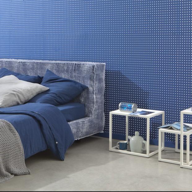 Niebieskie tkaniny do sypialni