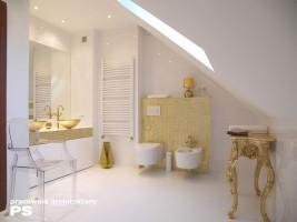 Łazienka w stylu nowoczesnym z wykorzystaniem elementów retro. Mimo że dominującym kolorem jest biel, to najbardziej krzykliwym elementem w pomieszczeniu jest kolor złoty występujący pod postacią mozaiki szklanej, umywalek i mebli.