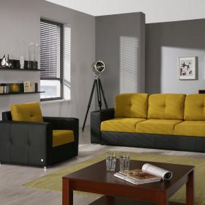 Sofa Cameron - musztardowy kolor połączony z szarościami. Fot. Wajnert Meble.