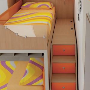 W pokoju dla rodzeństwa wykorzystywany jest każdy fragment przestrzeni. Fot. Moretti Compact.