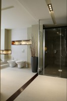 Kabina prysznicowa to pierwszy element na którym zatrzymuje się wzrok po otwarciu drzwi do łazienki. Nie dziwi więc jej atrakcyjna oprawa. Fot. Monika Filipiuk.