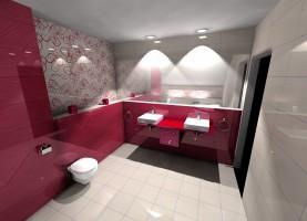 Zaróżowiło się - łazienka z różowymi akcentami, łączącymi się z szarościami i bielą.