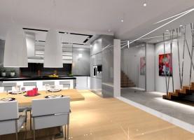 Salon otwarty na kuchnię i jadalnię.