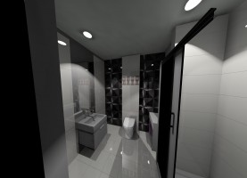Stonowana łazienka w szarej tonacji.