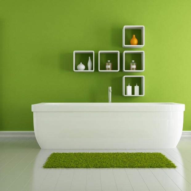 Łazienka w kolorze. Zielone wnętrza wciąż na topie