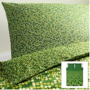 Zielona pościel SMÖRBOLL - 100% bawełny. Fot.Ikea.