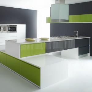 Meble kuchenne Patrycja. Intensywny zielony kolor połączony została z równie mocny odcieniem szarości. To odważne, ale i bardzo estetyczne połączenie, które idealnie sprawdzi się w nowoczesnej kuchni. Wycena indywidualna, Atlas Meble Kuchenne.