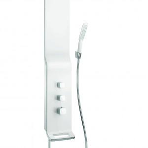 Panel prysznicowy Raindance Lift składa się z uchwytu prysznicowego, węża prysznicowego Isiflex z imitacją powierzchni metalicznej oraz główki prysznicowej PuraVida. Ok. 10.140 zł, Hansgrohe
