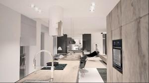 Kuchnia połączona z salonem.