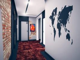 Projekt części wnętrza hallu hotelowego.