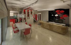 Energetyczna przestrzeń - salon z jadalnią. Stawiamy na połączenie atrakcyjnego i nietuzinkowego wglądu wnętrza w proporcji z komfortem użytkowania, zawsze mając na uwadze indywidualne preferencje użytkownika wnętrza.
