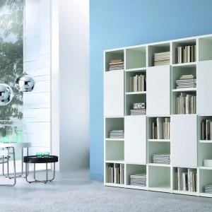 Domowa biblioteczka w minimalistycznym wydaniu. Fot. Giessagi.