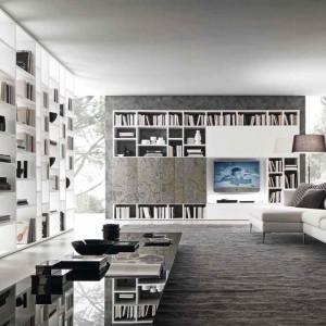 Biblioteka w formie ścianki telewizyjnej.  Fot. Presottoitalia.it.