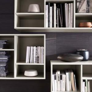Ozdobne wazony między półkami z lekturami ciekawie urozmaicają biblioteczkę. Fot. Mobilgam.it.