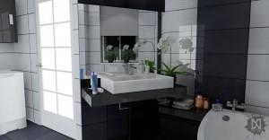 Użyty został najbardziej znany i popularny kontrast kolorystyczny. Ze względu na nietypowy kształt pomieszczenia prym wiedzie kolor biały w połysku, żeby uzyskać optyczne powiększenie, natomiast czerń stanowi wyraźny akcent.