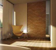 Realizacja Architekta Sypialnia Ze ścianą Z Cegły