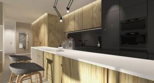 Apartament w Poznaniu - salon otwarty na kuchnię.
