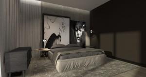Monochromatyczna sypialnia.