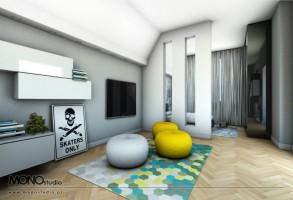 Eleganckie wnętrze z akcentem dla kreatywnego młodzieńca z podziałem na strefy.