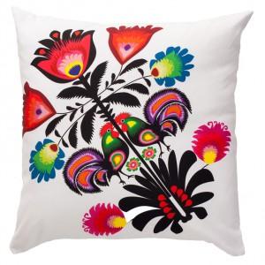 Ozdobna poduszka Folk z kolorowym nadrukiem, wymiary: 40 x 40 cm. Fot.Fancy Store.