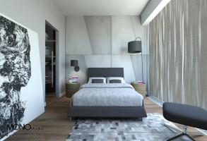 Przytulna sypialnia z wykorzystaniem naturalnych materiałów.