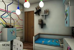 Młodzieżowy pokój dla żywiołowego nastolatka w eleganckiej oprawie.