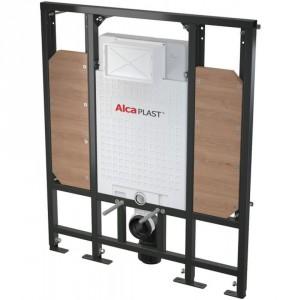 Podtynkowy stelaż WC A101/1300H do zabudowy lekkiej - dla osób o ograniczonej sprawności ruchowej, firmy Alcaplast.  Konstrukcja ramy pozwala na zakotwiczenie w konstrukcji ściany gipsowej lub na zainstalowanie przed ścianą.