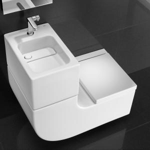 To innowacyjny projekt: Umywalka + toaleta, który łączy w sobie innowację, technologię, wzornictwo i zrównoważony rozwój. Umywalka zintegrowana z miską WC podwieszaną + bateria Singles-Pro + deska WC wolnoopadająca.