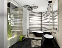 Salon kąpielowy to właściwsze określenie na tę przestrzeń relaksacyjną gospodarzy. Mamy tu bowiem i wolnostojącą wannę Napoli VA i prysznic zaaranżowany w wydzielonej przestrzeni.  Pomieszczeniu klimatu dodają tzw. zielone ściany, lampa Artemide Skydro, a także mnóstwo detali od firmy Decor Walther.