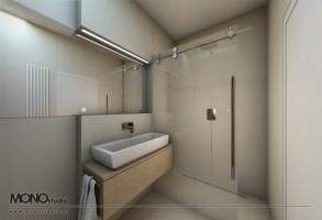 Proste geometryczne formy z dekoracyjnym akcentem - łazienka.