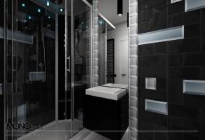 Nowoczesne zestawienie czerni i bieli w odważnej stylistyce - łazienka.