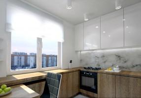 Druga wersja małej kuchni. Zaprojektowano w kształcie litery U z ruchomym stołem, który można przesuwać, wysuwać w zależności od potrzeby gospodarzy mieszkania.